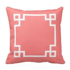 Coral and White Greek Key Pillow