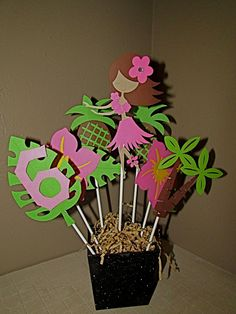 Luau Aloha Hula girl Birthday Centerpiece by PurpleZebraPaperCo, $12.00
