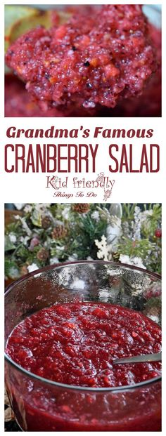 Grandma's Famous Cranberry Salad Delicious homemade cranberry salad recipe Perfect for Thanksgiving and Christmas! wwwkidfriendlyth… The post Grandma's Famous Cranberry Salad appeared first on Woman Casual - Food and drink Best Christmas Recipes, Thanksgiving Recipes, Holiday Recipes, Great Recipes, Favorite Recipes, Amazing Recipes, Delicious Recipes, Easy Recipes, Christmas Desserts