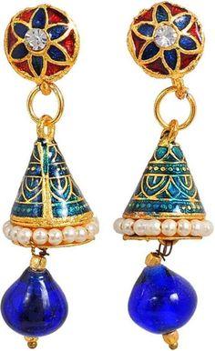 Maayra Royal Hanging Earrings Golden Dangler Drop Dailywear Jewellery