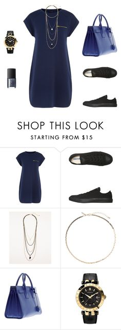 day outing by sidoney-sterling on Polyvore featuring Converse, Yves Saint Laurent, Versace, Le Chateau, Topshop and NARS Cosmetics