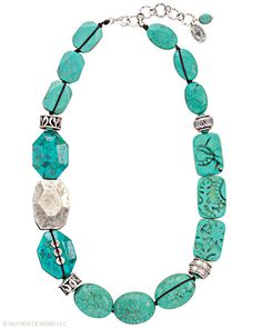 Satisfy your craving for eye candy with this #Sterling #Silver, compressed stabilized #Turquoise, #Howlite and Magnesite #Necklace. #Silpada