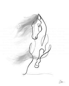 Cool Art Drawings, Horse Drawings, Animal Drawings, Drawing Art, Small Horse Tattoo, Horse Tattoo Design, One Line Tattoo, Line Art Tattoos, Horse Portrait