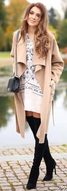 Black O T K B White And Gray Tunic Dress Camel Waterfall Coat Fall Inspo by Mungolife