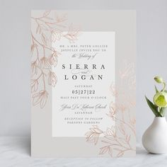 """""""Graceful"""" - Rustic Foil-pressed Wedding Invitations in Stone by Kate Ahn. Electronic Wedding Invitations, Formal Wedding Invitations, Foil Stamped Wedding Invitations, Wedding Favor Tags, Wedding Cards, Wedding Brochure, Wedding Signage, Invitation Design, Invitation Cards"""
