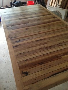 Need to replace an ugly table top for our lanai - on the cheap. This looks doable. With a stain and maybe some color. My summer project! Hope to be done by the 4th of July!