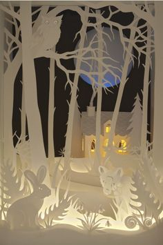 Magic Cupboard by Helen Musselwhite featured in Radiance lighting and craft shop, Hebden Bridge, Yorkshire Pennines UK Paper Book, 3d Paper, Paper Crafts, Diy Crafts, Kirigami, Paper Cutting, Paper Artwork, Book Art, Arts And Crafts