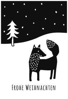 Druckrausch-Schablone ***Weihnachtskarte*** von Druckrausch auf DaWanda.com Linocut Prints, Art Prints, Lino Art, Linoprint, Land Scape, Folk Art, Illustration, Stencils, Art Projects