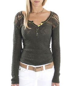 There's something a little bit magical about this stylish cotton sweater. Loose-knit panels at the shoulders create a casual-chic effect, while a classic henley silhouette provides an elegant look. Pretty and posh, it's a layer worth loving.