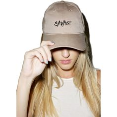 MeYouVersusLife Savage Cap ($25) ❤ liked on Polyvore featuring accessories, hats, embroidered hats, embroidered caps, curved brim hats, embroidery hats and cap hats
