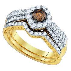 14K Yellow Gold 1.17ct Sleek Pave Brown Diamond Sideway Cushion Bridal Set Ring