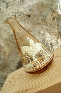 Vintage French Small Glass Carafe Hunting La by Retrocollects, £4.00