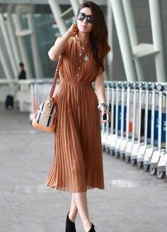 Single Breasted Ruffle Pattern Dresses Red : Wholesaleclothing4u.com