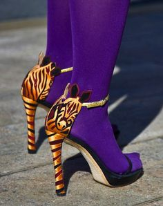Miles of style -- purple tights and zebra heels Zebra Heels, Stiletto Heels, High Heels, Crazy Shoes, Me Too Shoes, Heeled Boots, Shoe Boots, Purple Tights, Louis Vuitton Heels