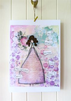 """Shabby chic mixed media art - do what gives you joy, delightful girl - Print 8x10"""" This is a mixed media artwork created by me.  Features a gorgeous big skirted girl in a whimsical, shabby chic setting. toniburt.com.au"""