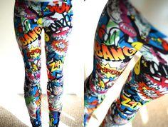 NEW Womens Comic Book Love Heart Graffiti Bang Zap Star Smile Batman super hero Leggings tights