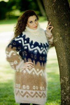 Tiffy Mohair Hand Knitted T neck Icelandic Sweater by TiffysMohair