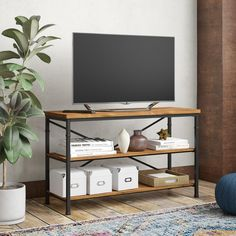 Trent Austin Design Knapp Open Shelving TV Stand for TVs up to 50 inches 70 Inch Tv Stand, Tv Stand Set, Iron Decor, Tv Decor, Home Decor, Decor Crafts, Tv Stand Extender, Adjustable Shelving, Open Shelving