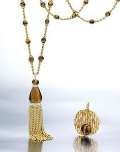 A suite of 18k gold, tiger's eye and diamond jewelry, Kutchinsky