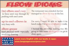 Idioms with elbow to improve your conversational English! #ESL