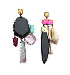 Nikki Couppee, Shell Valentine Earrings, Plexiglass, brass, sterling silver, fine silver, found object