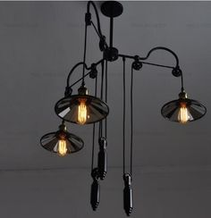 Aliexpress.com : Buy Iron Pendant Lights Vintage Loft Industrial Pulley Retractable Mirror Pendant Lamps Wrought Iron Industrial Lighting from Reliable light laser suppliers on Warmhome-factory
