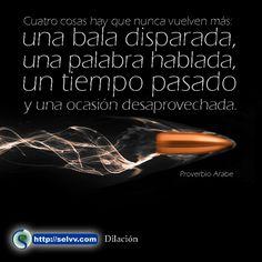 Cuatro cosas hay que nunca vuelven más: una bala disparada, una palabra hablada, un tiempo pasado y una ocasión desaprovechada. Proverbio Arabe. http://selvv.com/dilacion/
