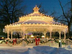 Another reason I would like a gazebo! A lovely elegant lighted gazebo on the town green! You could do this in your own gazebo at home! Noel Christmas, Merry Little Christmas, Outdoor Christmas, Winter Christmas, Christmas Lights, Vintage Christmas, Christmas Decorations, Christmas Wedding, Gazebo Decorations