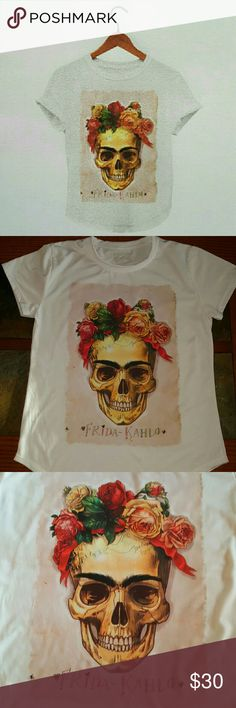Frida skull 100% polyester fitted tshirt in limited quantities. ??No offers accepted at this time?? Frida Kahlo Tops Tees - Short Sleeve