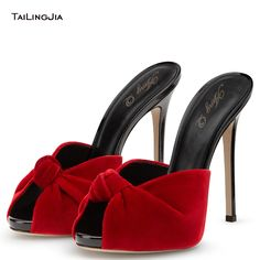 55.00$  Watch more here - http://ai3eh.worlditems.win/all/product.php?id=32775718365 - Fashion Summer  High Heel  Women Sandals And Slippers Handmade Shoes Sexy Heels Party Open Toe Shoes Black Red Velvet Mules