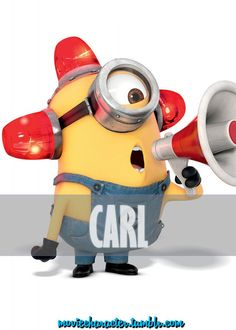 "Despicable Me - Carl is a small, one-eyed minion, with short, buzz-cut hair. Carl is a fun-loving minion who enjoys his time with his fellow minions. He likes to skateboard and make noises like fire truck sirens - ""BEE-DO! BEE-DO! Amor Minions, Despicable Me 2 Minions, Cute Minions, My Minion, Minions 2014, Funny Minion, Minion Names, Happy Minions, Evil Minions"
