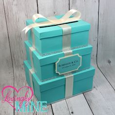 Card Holder 3 Tier Box Gift Money With Sign In Light Teal And Ivory Baby Company Bride Designer Inspired