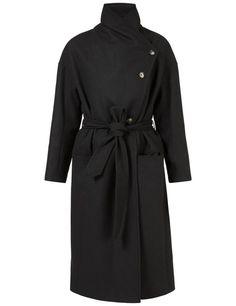 AGNES 67 SOFT MELTON COAT, Black, large