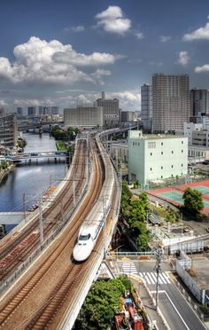 The shinkansen or bullet train in Japan reaches speeds of up to 320km/h (200mph).
