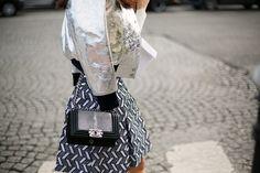 Total grey look, metallized bomber, Chanel bag