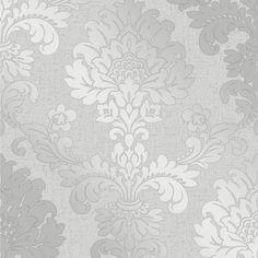 Glisten Damask Wallpaper Silver (ILW980084)