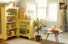 Love the color (and simple organization) of these shelves.
