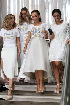 38 ideas bridal shower outfit ideas the bride Bachelorette Outfits, Bachelorette Weekend, Shower Outfits, Shower Dresses, Bridal Party Shirts, Team Bride, Bridesmaid Dresses, Wedding Dresses, Bridal Outfits