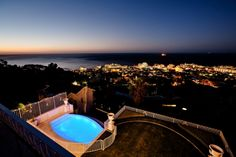 The view from your balcony at the exclusive Villa Eight in upmarket Bantry Bay. Swimming Gear, Luxury Accommodation, City Lights, Mountain View, Balcony, Seaside, Terrace, Villa, Ocean