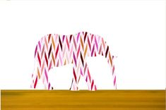 Elephant wall decals in herringbone pattern. pink theme by Popitay, $47.00