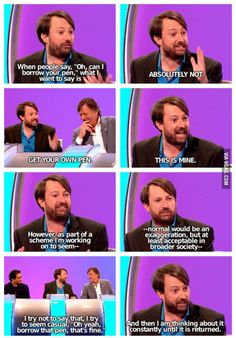 David Mitchell on pens. Nails it. Would I Lie to You?
