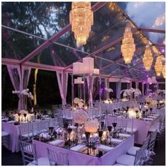 Outdoor wedding. I love the glass roof over the party.