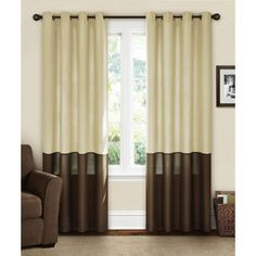 Canopy Lined Color Band Grommet-Top Energy-Efficient Curtain Panel $21.97 Green and brown might be a good option for office/guest bedroom  green brown in stock papillion store size 50 X 95