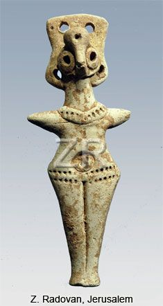 ASHERAH (ASHTORETH) - CNAANITE GODDESS OF FERTILITY, THE CONSORT OF THE PRINCIPAL GOD EL OR BIBLICAL BAAL. THE CLAY FIGURINE DATING FROM C. 10 TO 7TH. C. BC. , WERE WORSHIPED AS HOUSE DEITIES