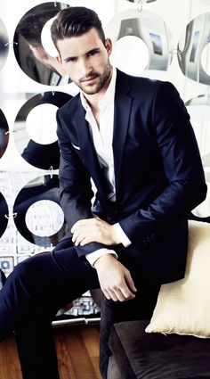 Black suit, white tailored shirt