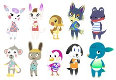 I randomly decided to draw out the current villagers I have in my Animal Crossing Town Lunarett uvuIn order: Diana, Merry, Molly, Wolfgang, Del, Shari, Bonbon, Midge, Walker and Axel.