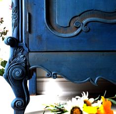 Blue Armoire by Ildiko Horvath | Annie Sloan Chalk Paint Brushes, Chalk Paint Wax, Milk Paint, Blue Furniture, Painted Furniture, Diy Furniture, Kitchen Armoire, Napoleonic Blue, French Country Bedrooms