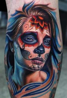 New School Tattoo Girl Crying Portrait