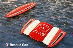 Current life preserver designs are useful but don't account for these simultaneous rescues. The D-Rescue Can is a rugby-ball shaped preserver, perfect for throwing, that separates into two pieces in the shape of a stingray which multiple people can hold onto, decreasing rescue time and saving lives. Designer: Tae Hoon Jung