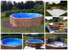 Swimming Pool Made Out of Wooden Pallets for Under $80